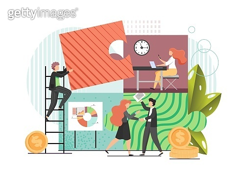 Team work, vector flat style design illustration