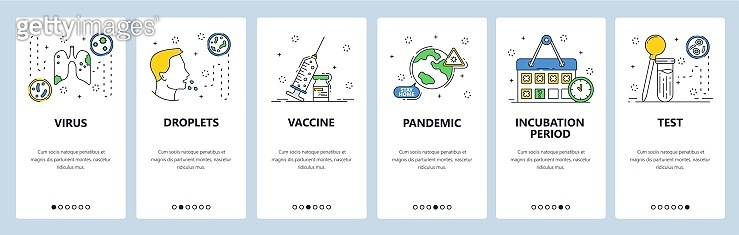 Corona virus world pandemic, coronavirus vaccine, lung pheumonia, cough. Mobile app screens. Vector banner template for website and mobile development. Web site design illustration.