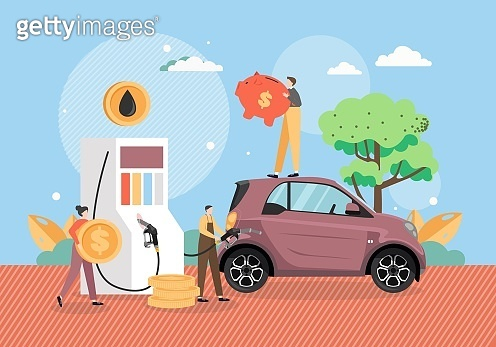 Filling station, tiny characters refueling car, vector flat illustration