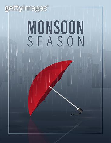 Monsoon season vector illustration with red umbrella on rain in the city at night