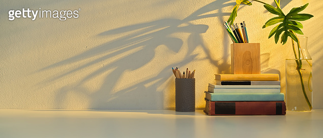 Study table with copy space, stationery, books, elements and plant vase
