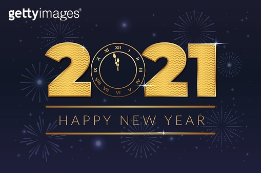 2021 happy new year with clock and gold text