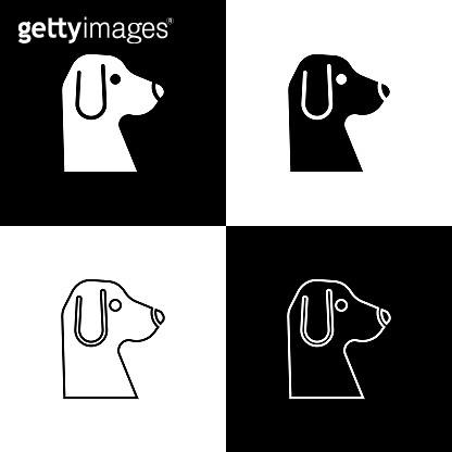 Set Dog icon isolated on black and white background. Vector