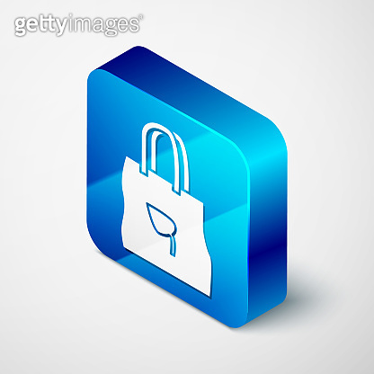 Isometric Paper shopping bag with recycle icon isolated on grey background. Bag with recycling symbol. Blue square button. Vector Illustration
