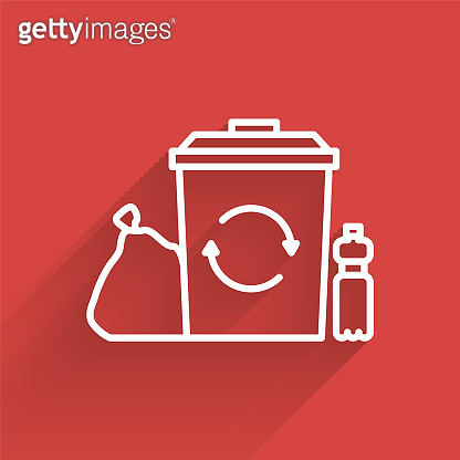 White line Recycle bin with recycle symbol icon isolated with long shadow. Trash can icon. Garbage bin sign. Recycle basket. Vector Illustration