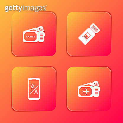Set Ticket, Train ticket, Online translator and Airline icon. Vector