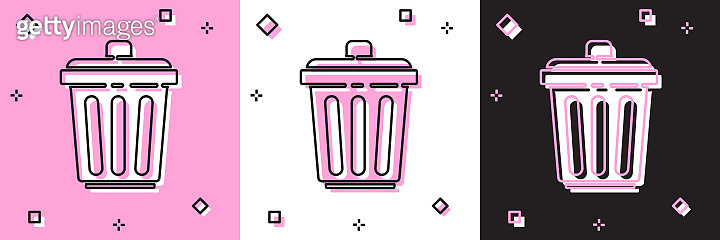 Set Trash can icon isolated on pink and white, black background. Garbage bin sign. Recycle basket icon. Office trash icon. Vector Illustration