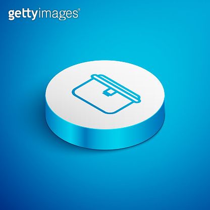 Isometric line Lunch box icon isolated on blue background. White circle button. Vector Illustration