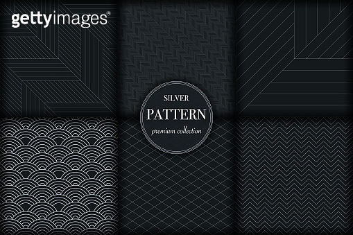 Set of 6 dark silver grayscale luxury geometric pattern background. Abstract line, dot  trendy retro style vector illustration for wallpaper, flyer, cover, banner, design template, fabric print decor. minimalistic ornament, backdrop
