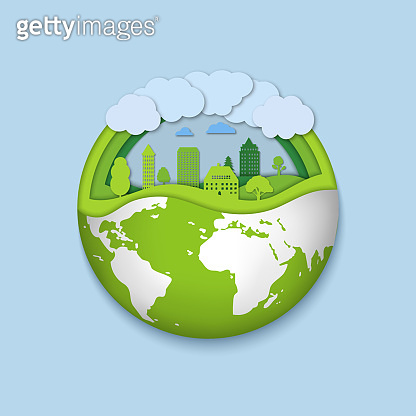 Environment world with eco green city. Earth day concept. Paper cut planet with nature life. Origami friendly environmental town on globe. Papercut urban life on 3d globe. Design vector illustration.