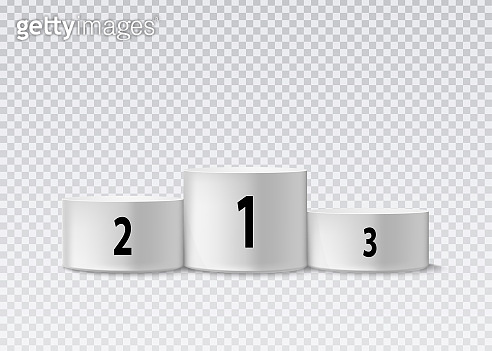 Round pedestal template isolated on transparent background. Vector illustration.