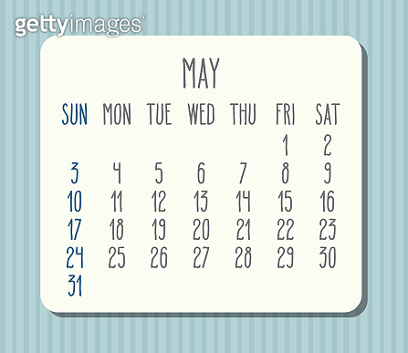 May year 2020 monthly calendar