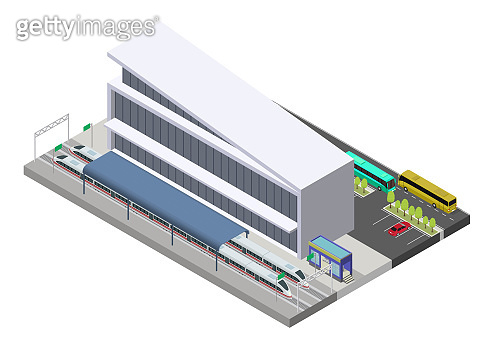 Vector isometric public train station building