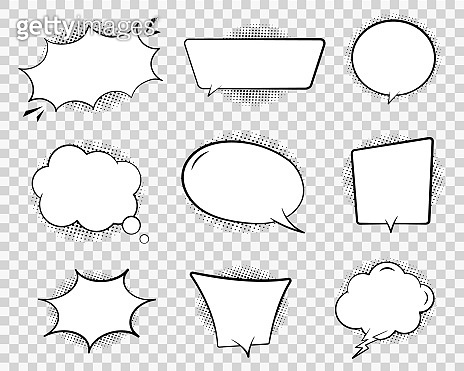 Retro comic speech bubble. Chat cloud for text on transparent background. Vintage empty speech bubble with dots. Cartoon think balloon of message. Comic dialog sketch illustration. Design vector