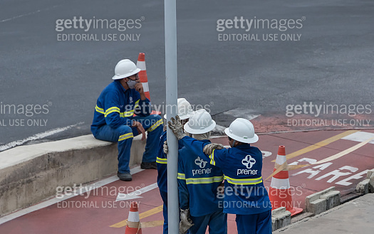 Power line workers in Recife city