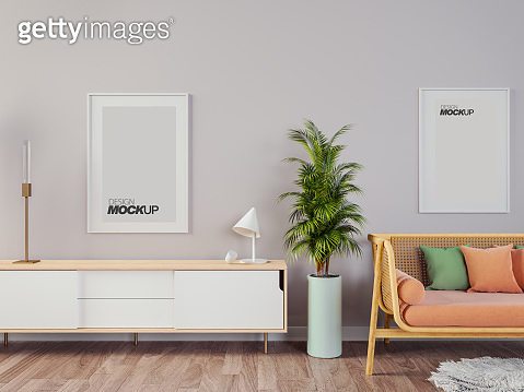 Livingroom interior wall mock up with gray fabric sofa and pillows on white background with free space on right.