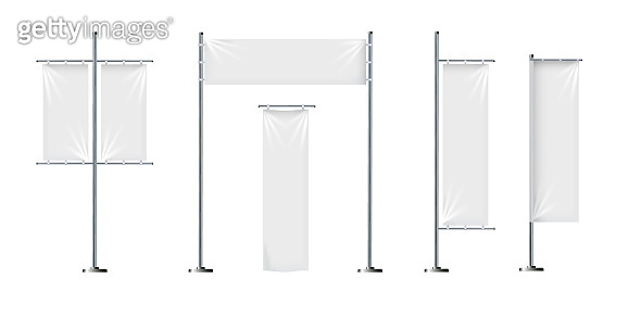 Vector set of blank, textile banners or flags in various shapes, for brand promotion, marketing, advertisement isolated on background. Outdoor, portable pole with cloth, mockup for your design.