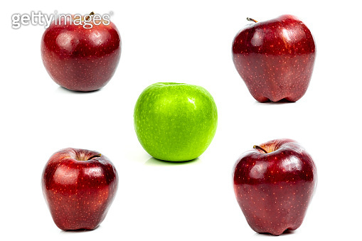 Collection fresh apple green and red fruit on a white background