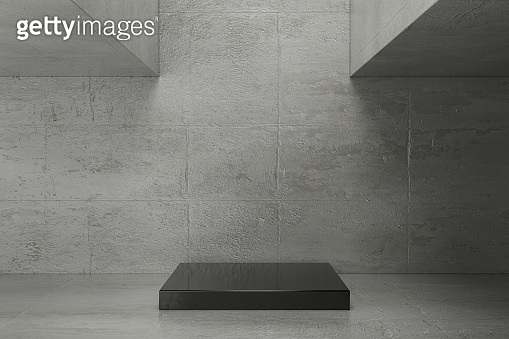 Concrete background with pedestal.