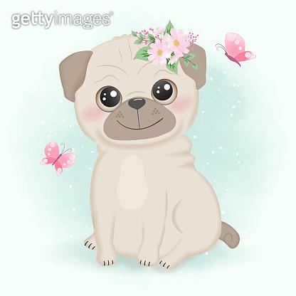 Cute little pug hand drawn cartoon watercolor illustration