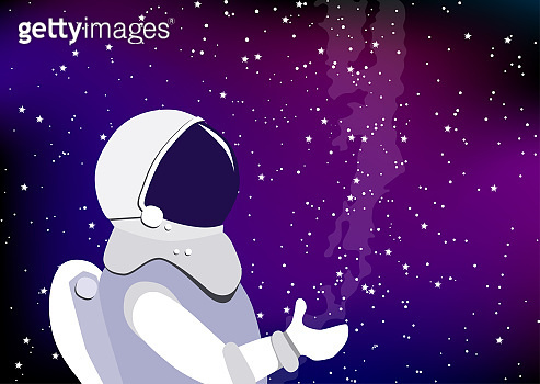 Astronaut in a spacesuit floating in outer space. Astronaut on the background of the starry sky and atmosphere or star nebula.