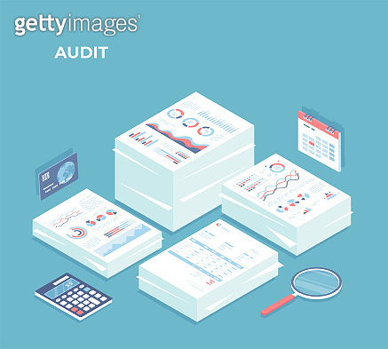 Auditing, analysis, accounting, calculation, analytics. Piles of documents for review. Documents with charts graphs, report, magnifying glass, calculator, calendar, credit card. Isometric 3d vector