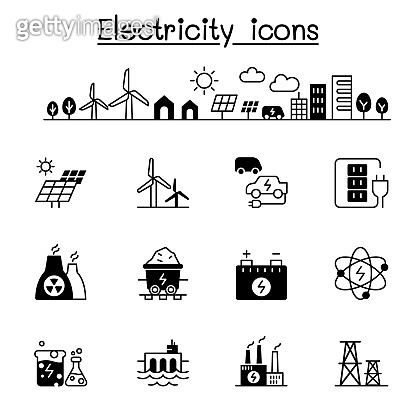 Electricity icons set vector illustration graphic design