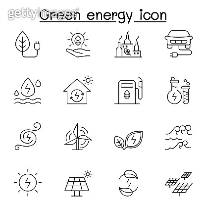 Green energy icon set in thin line style