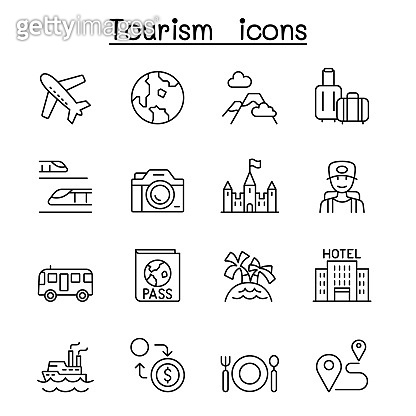 Traveling, transport & Tourism icon set in thin line style