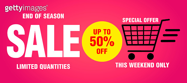 Sale banner, poster, end of season, this weekend only, limited quantities . Design with 50% discount. Pink background