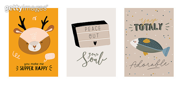 Cute kids scandinavian characters set including trendy quotes and cool animal decorative hand drawn elements