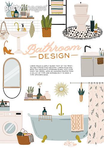 Stylish Scandinavian bathroom interior - bidet, tap, bath, toilet, sink, home decorations.