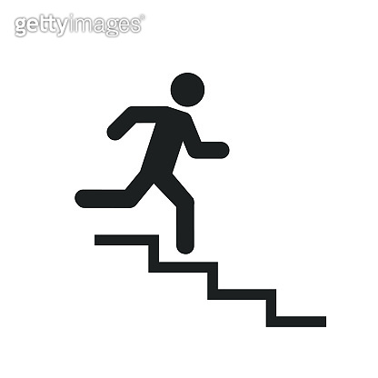 Downstairs icon sign. Walk man in the stairs. Career Symbol. flat design. Vector illustration.