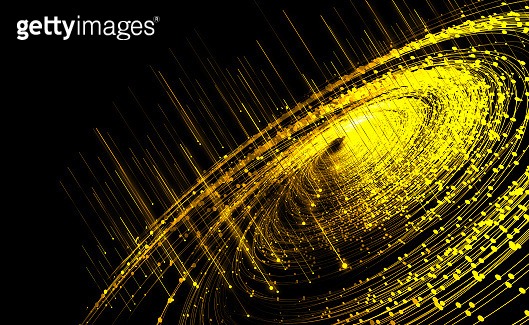 Golden dot line particle vortex, big data, communication technology technology background.