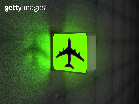 Airport airplane green sign