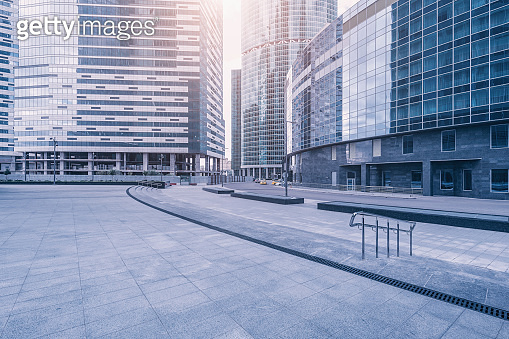 Empty streets of the business city center.