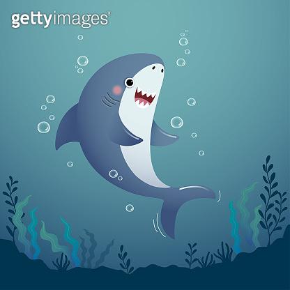 Vector illustration cute cartoon shark in the deep blue water.