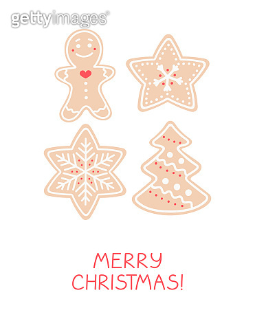 Holiday greeting card with gingerbread cookies. Vector illustration.