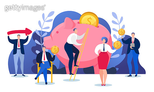 Money finance economy, wealth investment in piggy bank vector illustration. Financial coin cash banking concept.