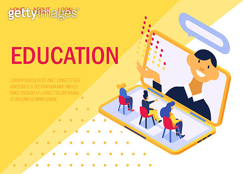 Education online concept, lecture on laptop screen vector illustration internet web page.