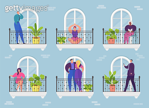 Cartoon woman man in apartment balcony, architecture hotel building vector illustration. Home window to city, house residential neighborhood.