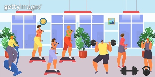 Gym for fitness and workout exercise, vector illustration. Man woman people character training sport, cartoon healthy lifestyle.