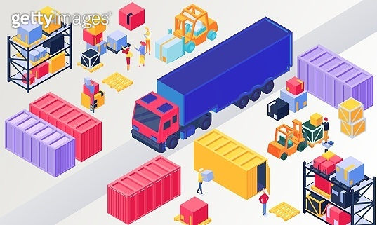 Isometric logistics, warehouse vector illustration, 3d people loading box in pallet, worker character packaging containers on trucks