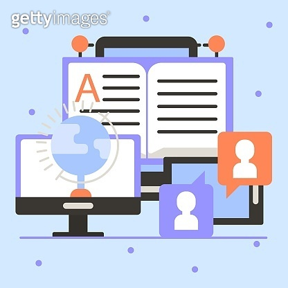 Online video education, student training in computer, vector illustration. Internet tutorial at laptop screen and study.