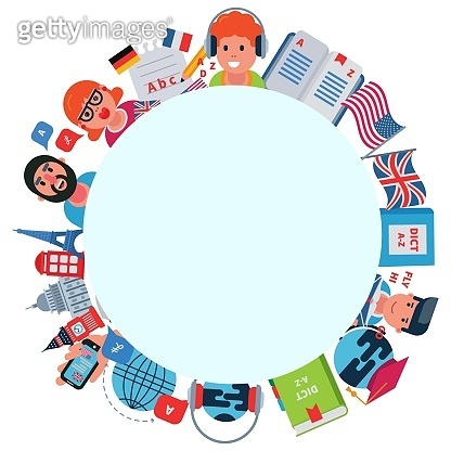 Language education conversation, vector illustration. People man woman character english communication concept. Speak foreign