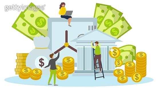 Finance investment, bank deposit, money saving people vector ill