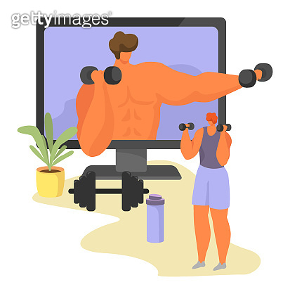Online sport tutorial vector illustrations, cartoon woman man characters in healthy sport activity using video lessons app isolated on white