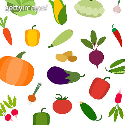 Vegetarian vector pattern with carrot, tomato, radish and eggpla