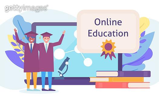 Students graduates in online education web learning, university studies flat vector illustration.