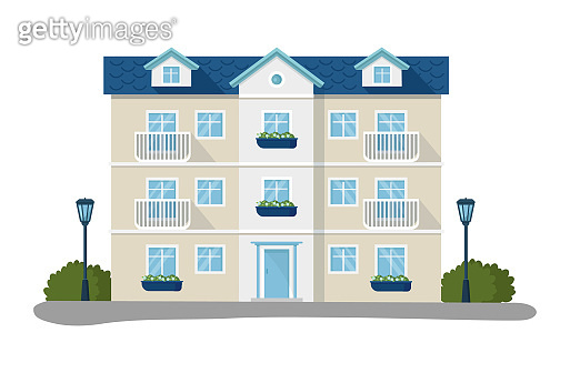 Modern house vector illustrations, cartoon flat home apartment, facade exterior of residential building set icons isolated on white